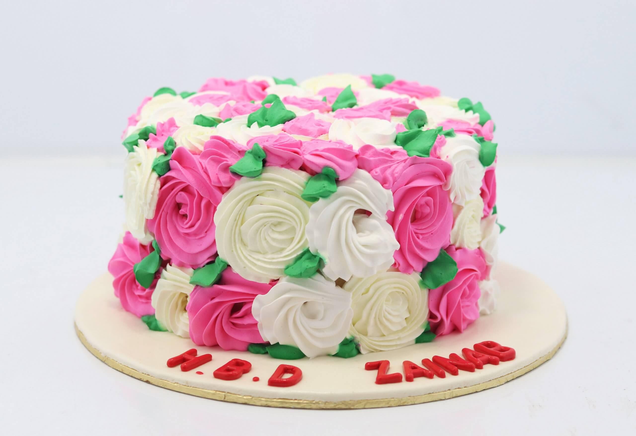 Fine Pink White Flowers Birthday Cake Flower Cakes Birthday Cake In Lahore Funny Birthday Cards Online Elaedamsfinfo