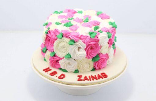 Pink White Flowers Birthday Cake