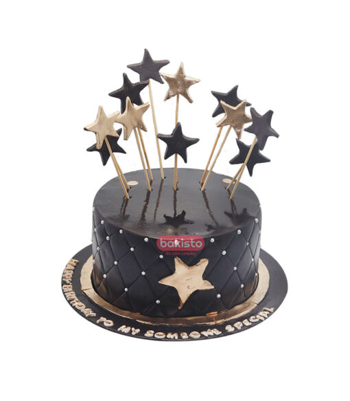Black And Golden Stars Theme Cake