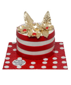 red and white lining cake