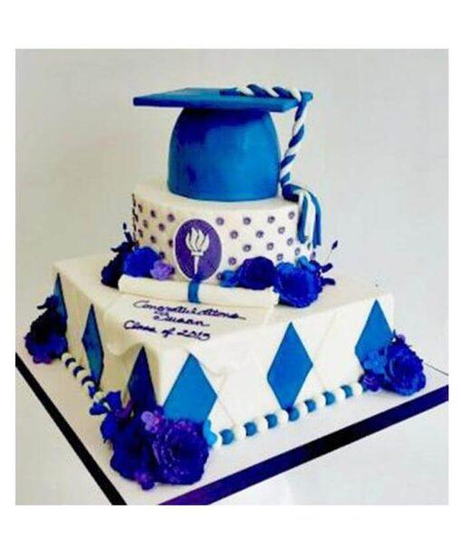 Blue Cap 2 Tier Graduation Cake
