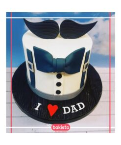 Blue Mustache Dad Birthday