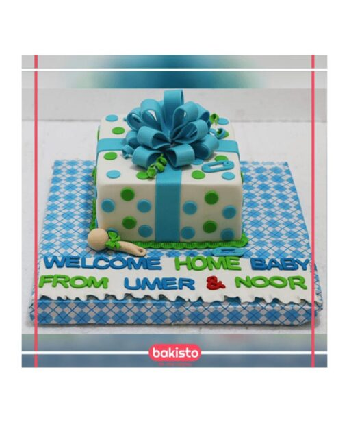 Blue Ribbon Baby Shower Cake in Lahore