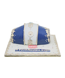 blue dholki cake