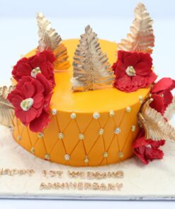 Golden Leaves With Red Flower Birthday Cake