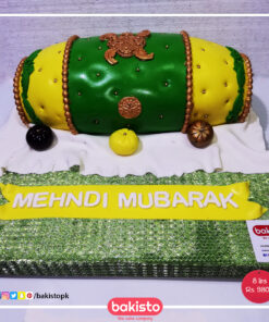 Green and Yellow Dholki Cake in Lahore