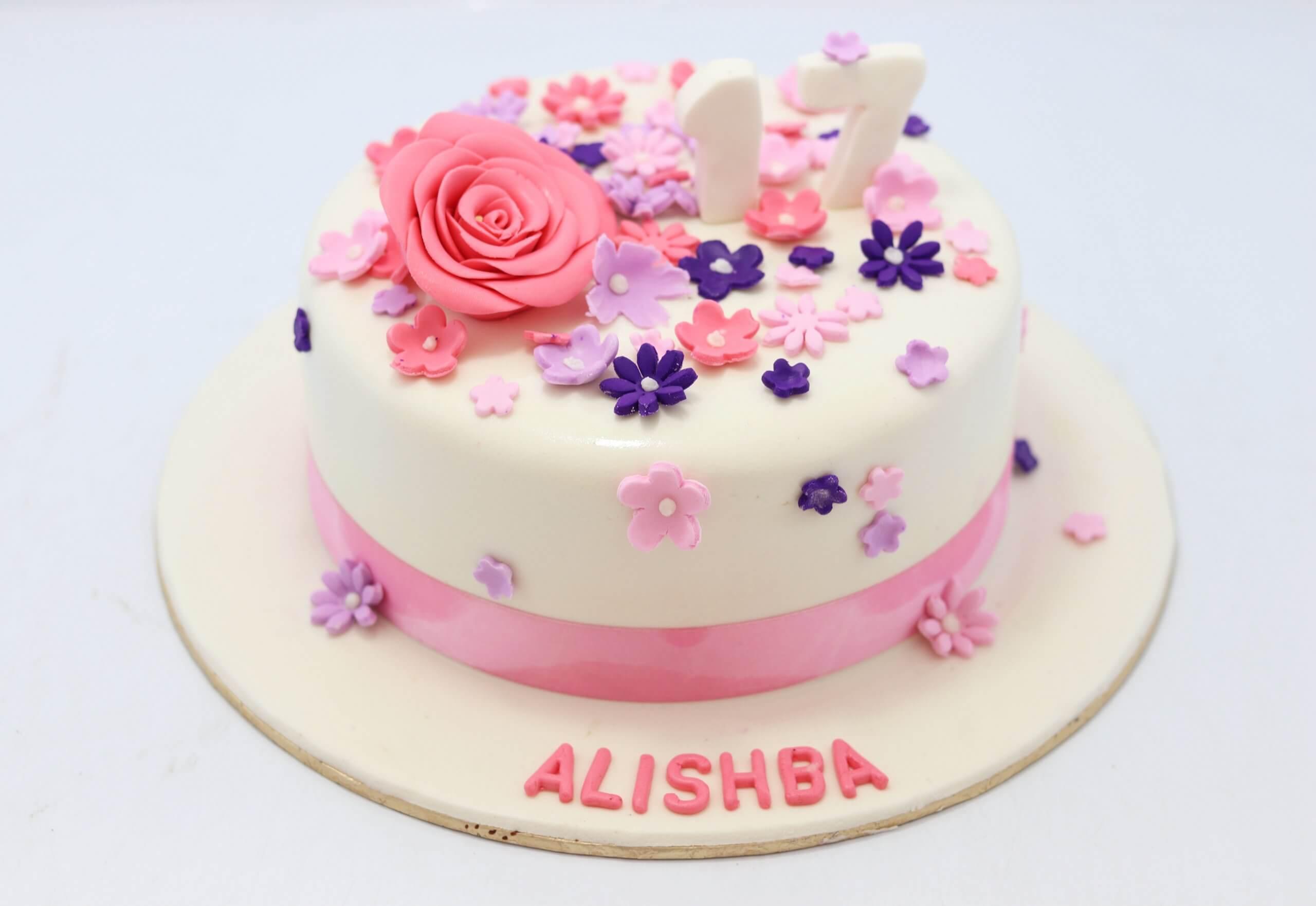 Remarkable Pink Flower Birthday Cake Find Cake At Your Doorsteps Funny Birthday Cards Online Hetedamsfinfo