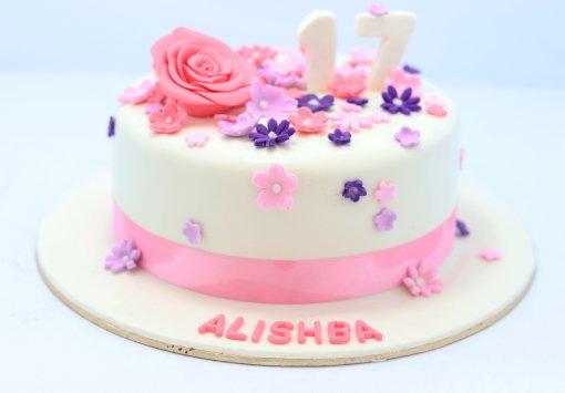 Pink Flower Birthday Cake