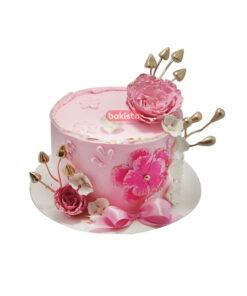 Pink Flowers Cream Cake by bakisto