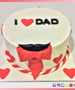 I Love Dad Cake with heart