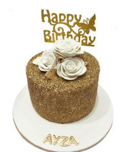 Golden Theme Birthday Cake
