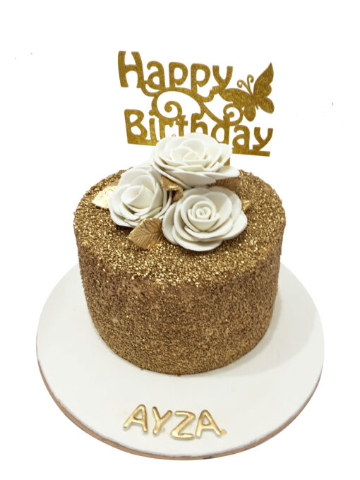 Golden Theme Birthday Cake