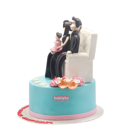 couple theme anniversary cake, online cake delivery in lahore