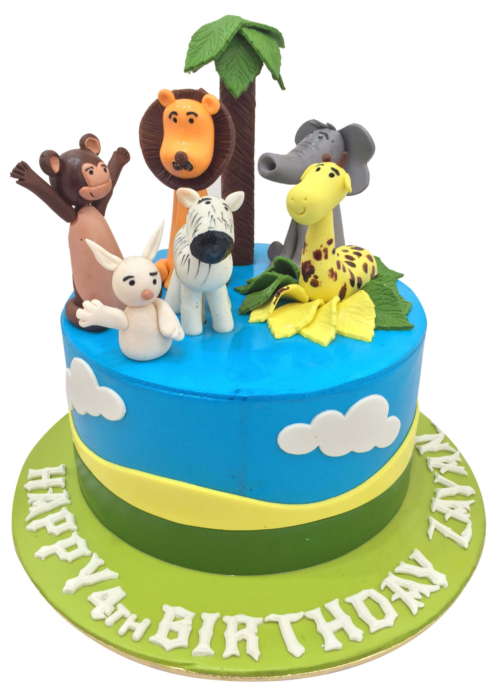 Brilliant Jungle Theme 4Th Birthday Cake Jungle Cake Childrens Birthday Funny Birthday Cards Online Elaedamsfinfo