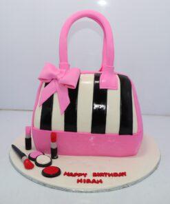 Pink Hand Bag With Makeup Cake