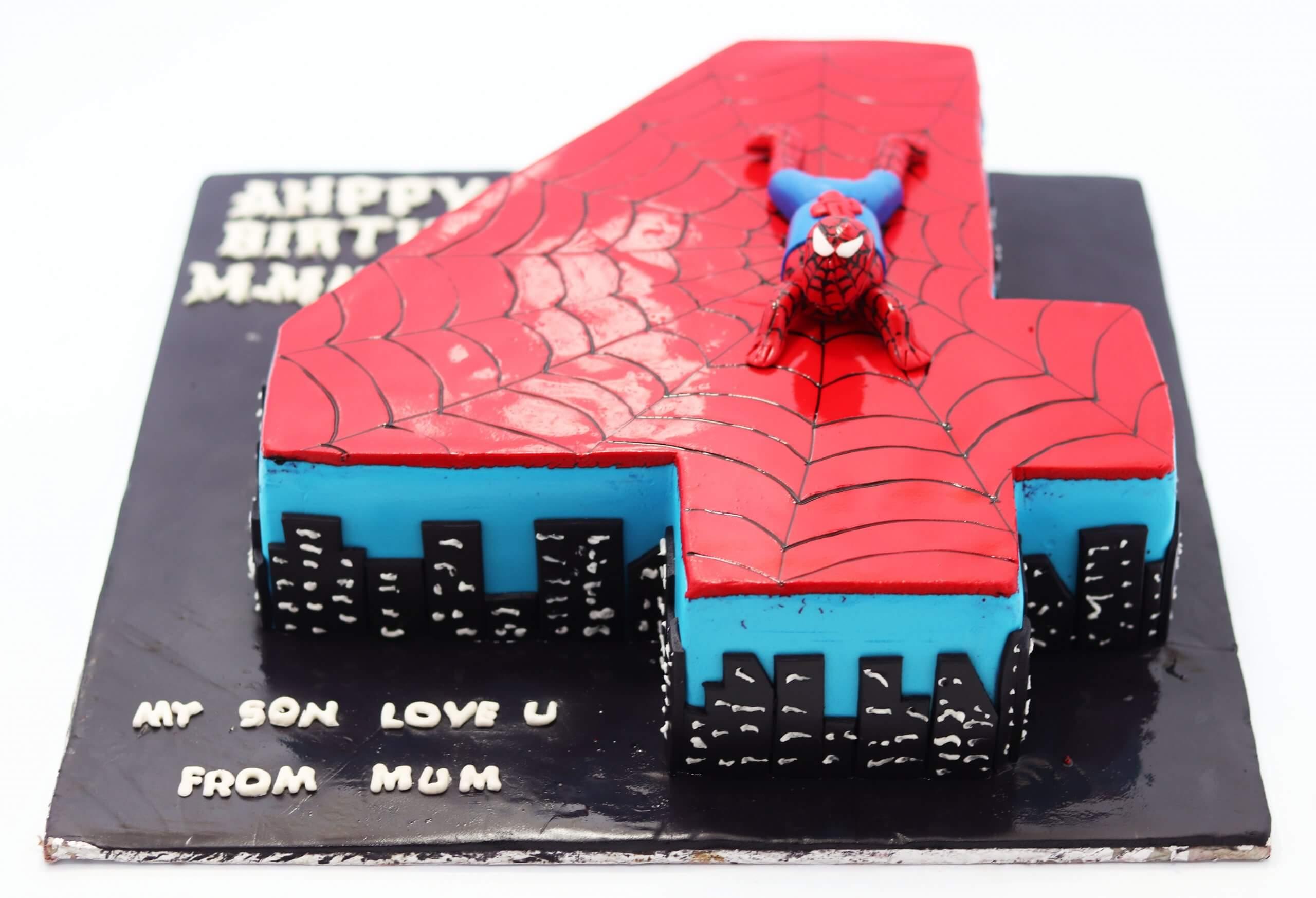 4th Birthday Spiderman Cake Kids 4th Happy Birthday Cakes