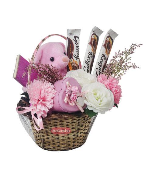 chocolate basket, galaxy chocolate cake