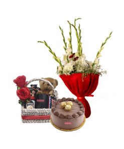 best chocolate cake flower basket delivery in Lahore