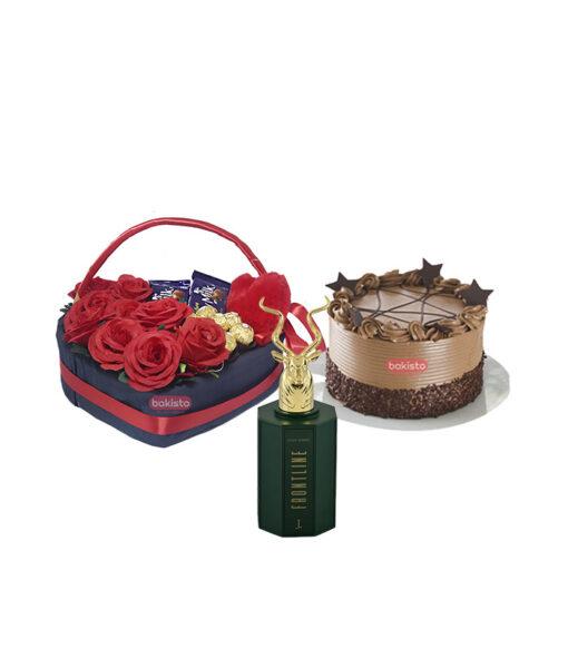 chocolate cake, flower, perfume combos by bakisto.pk