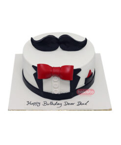 Mustaches With Bow Cake