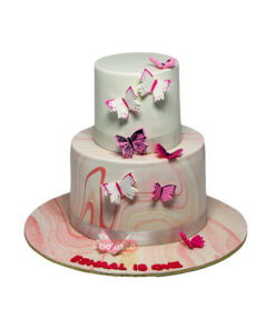 Marble Theme Butterfly Cake