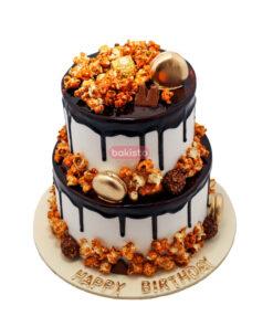 two tier pop corn cake