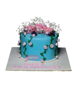 Blue Fresh Flower Cake