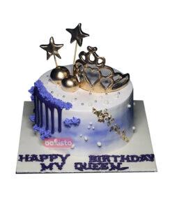 Blue Golden Crown Cake