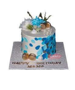 Blue & White Fresh Flower Cake