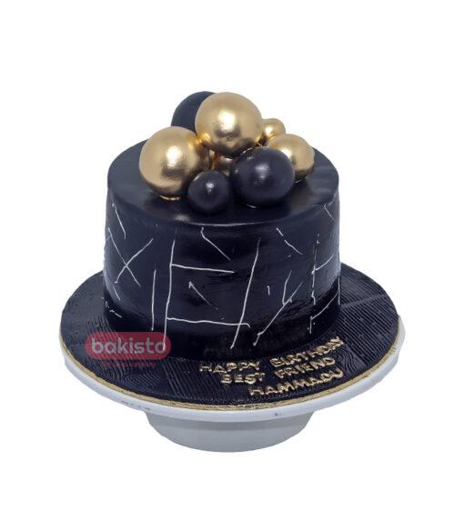 Black And Golden Balls Cake