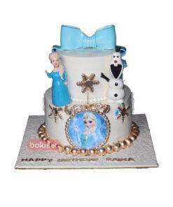Two Tier White Elsa Cake